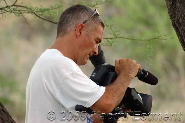 DAVE FILMING GROUND SQUIRELLS - Central Kalahari Game Reserve, Botswana